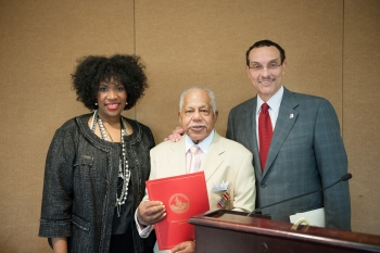 ANC Commissioner Janis Hazel And Mayor Vincent Gray Pose With Erman Clay During Clays 90th Birthday Celebration On May 11 2013 Photo By Dennis McLeary