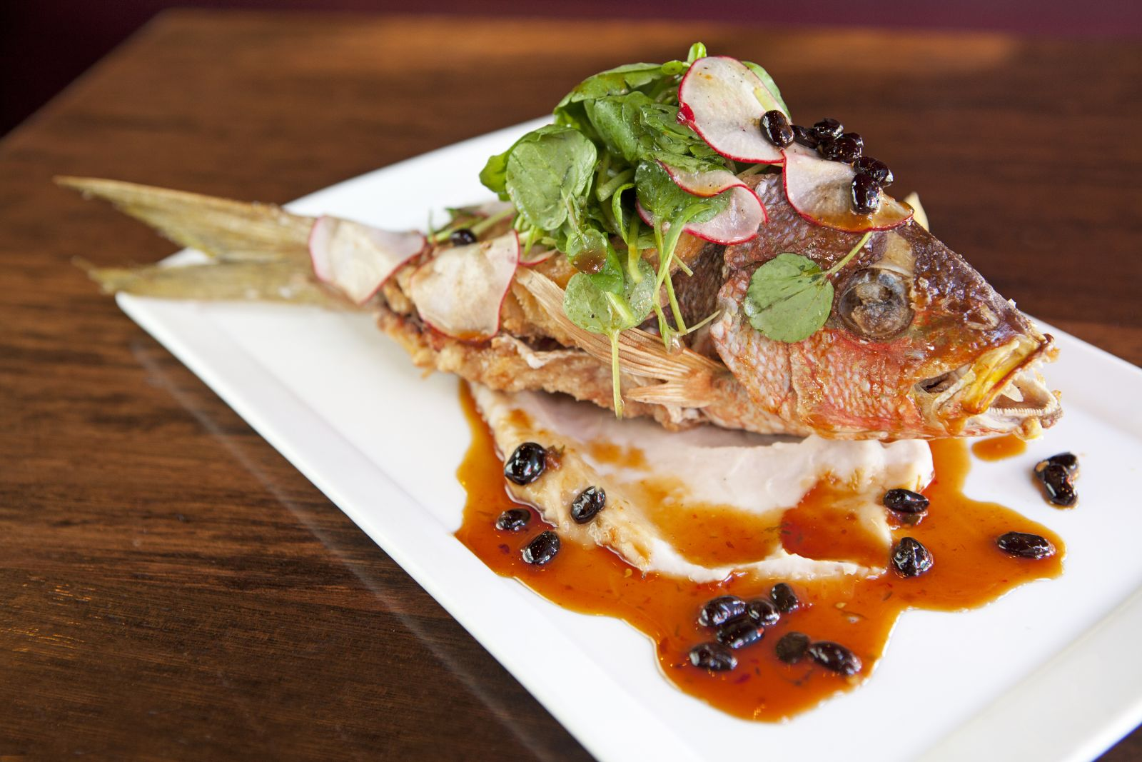 Beautiful Photo:Zengo Crispy Whole Fish    Whole, Fried Red Snapper Is The Light,  Flaky Centerpiece Of Zengou0027s Summer Test Kitchen Menu.